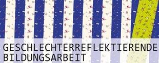 """""""Logo"""" mit Text: Geschlechterreflektierte Bildungsarbeit"""