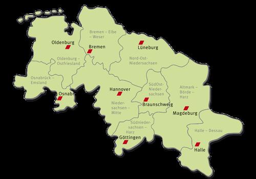 Landkarte des Bezirks mit den jeweiligen Regionen